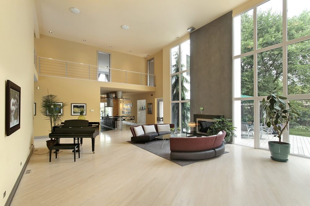 54 living rooms with soaring 2 story cathedral ceilings - Hardwood floor living room design ...