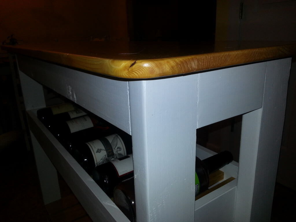 Close up of kitchen island with wine rack