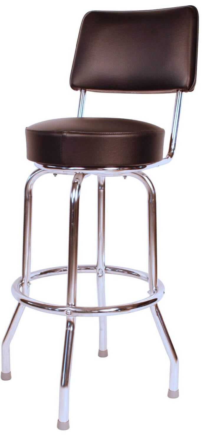 High back stool with chrome finished frame and upholstered seat and back.