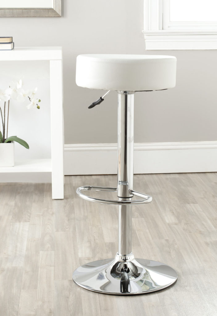 Swivel and Adjustable Backless Round Bar Stool  sc 1 st  Home Stratosphere & 35 Stylish Modern Adjustable White Leather Bar Stools islam-shia.org