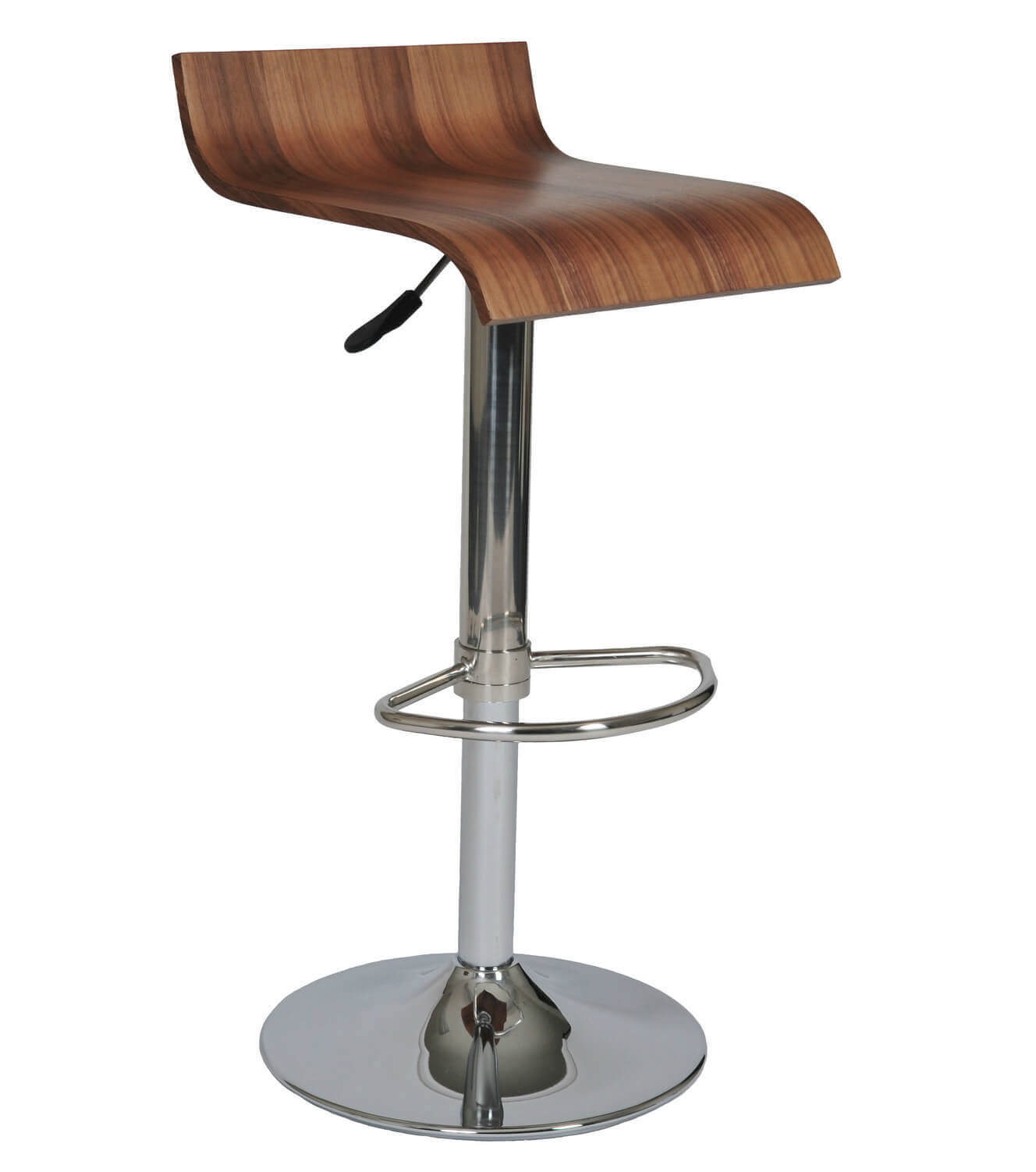 Low back height adjustable stool with chrome finished pedestal base.