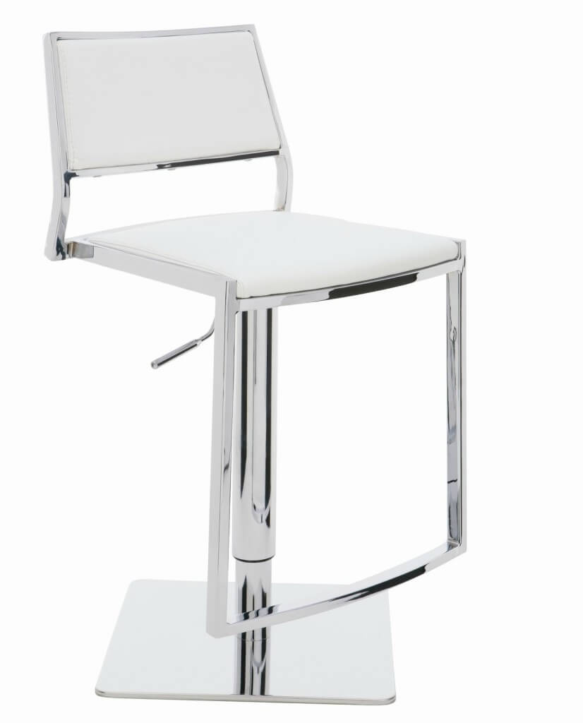 This adjustable white leather stool offers an extra wide seat and back and foot rest for .  sc 1 st  Home Stratosphere & 35 Stylish Modern Adjustable White Leather Bar Stools islam-shia.org