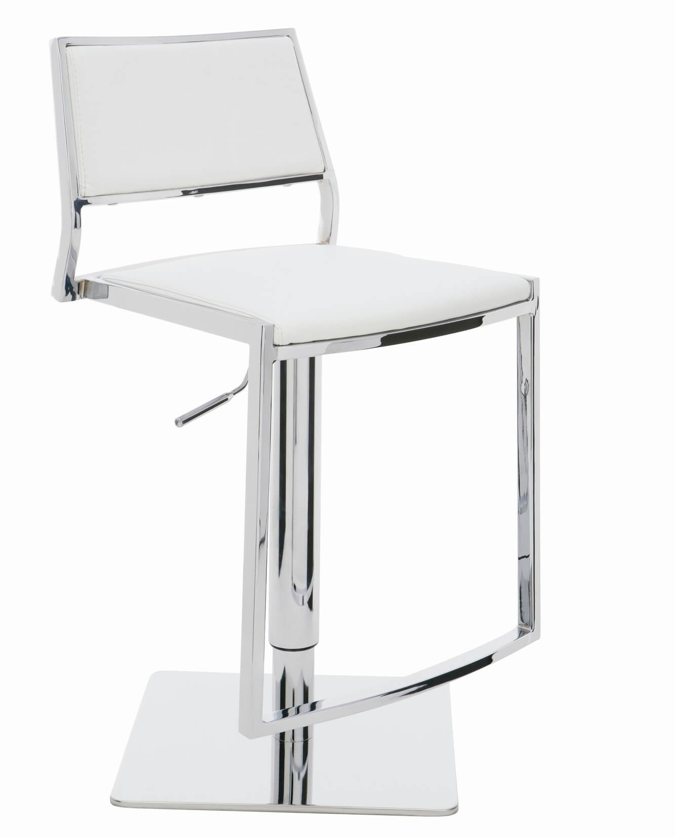 This adjustable white leather stool offers an extra wide seat and back and foot rest for optimal comfort (for a modern stool design).
