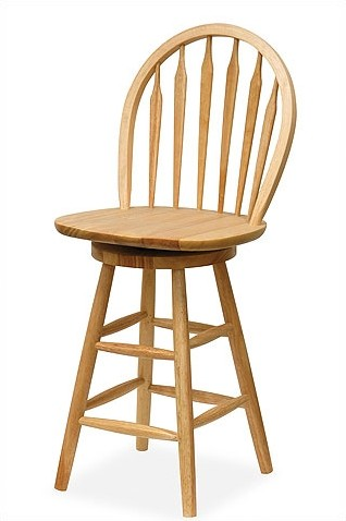 Wood swivel stool with Windsor back.
