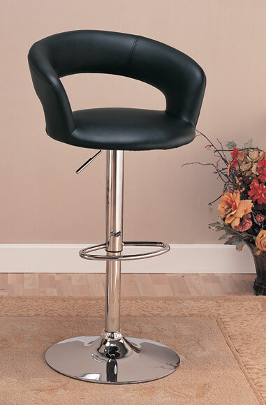 Modern adjustable stool with chrome finished pedestal and black upholstered seat and back.