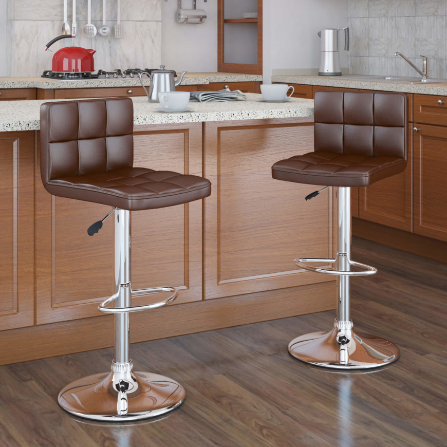 Pair of modern chrome frame adjustable height stools with brown seats. & 52 Types of Counter u0026 Bar Stools (Buying Guide) islam-shia.org