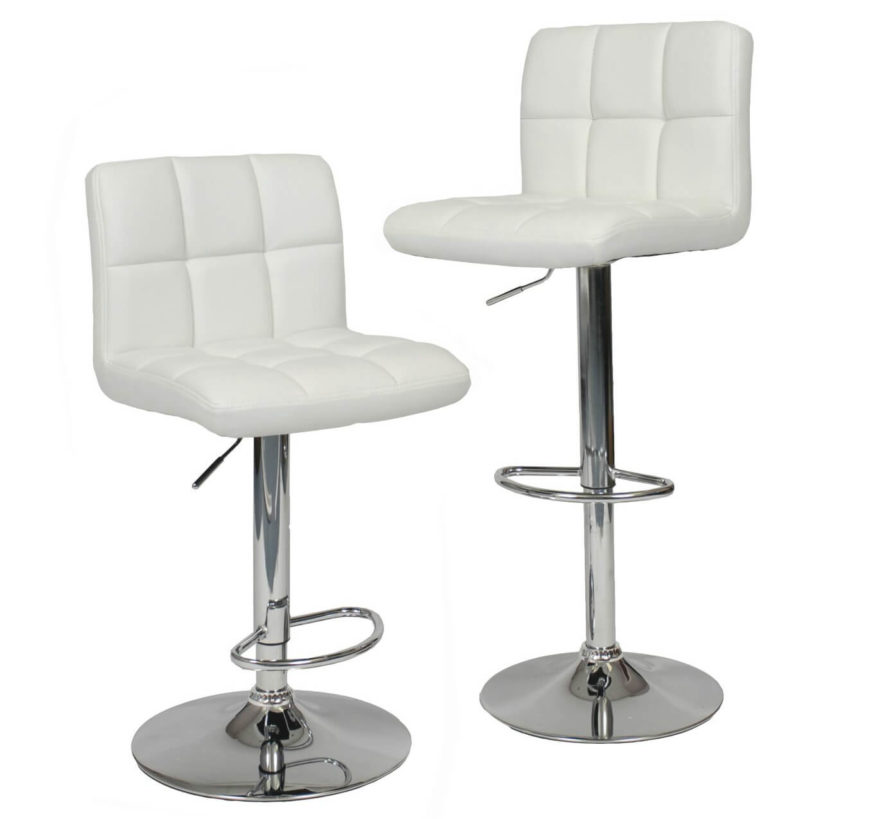 Roundhill Adjustable White Leather Bar Stool
