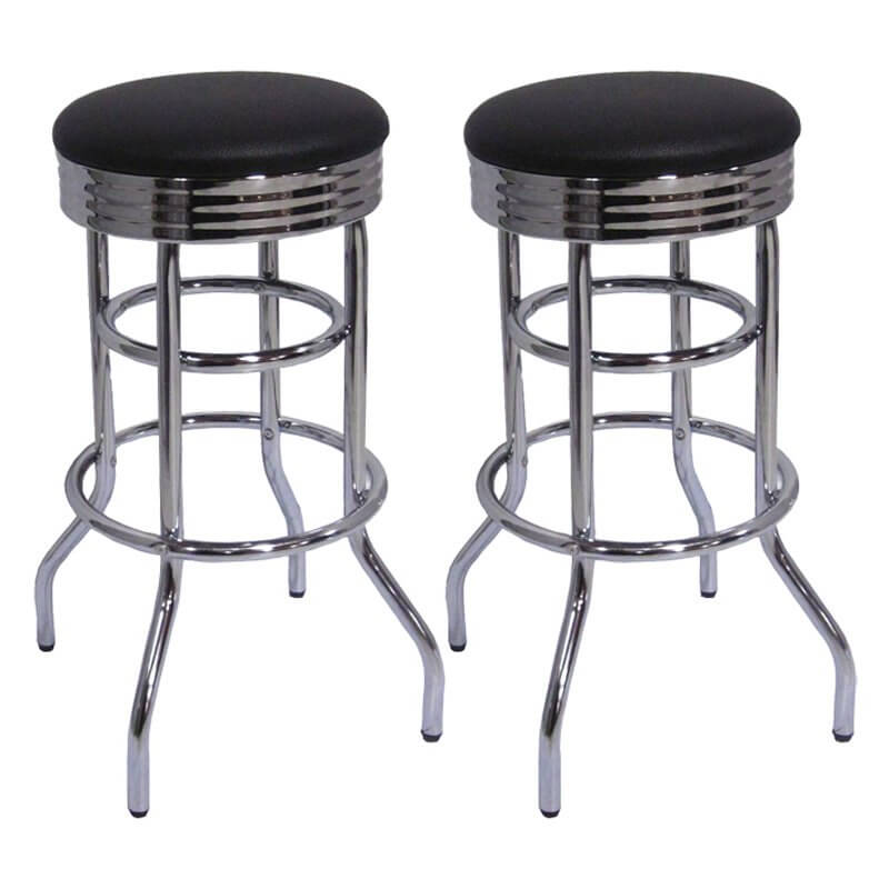 pair of retro stools with frame and round black seats