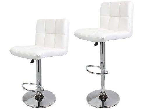 While this stool set doesn't have a high back, the backs are higher than most modern stool designs for added comfort. Like most modern stool designs, this armless stool is supported with a chrome pedestal style base.
