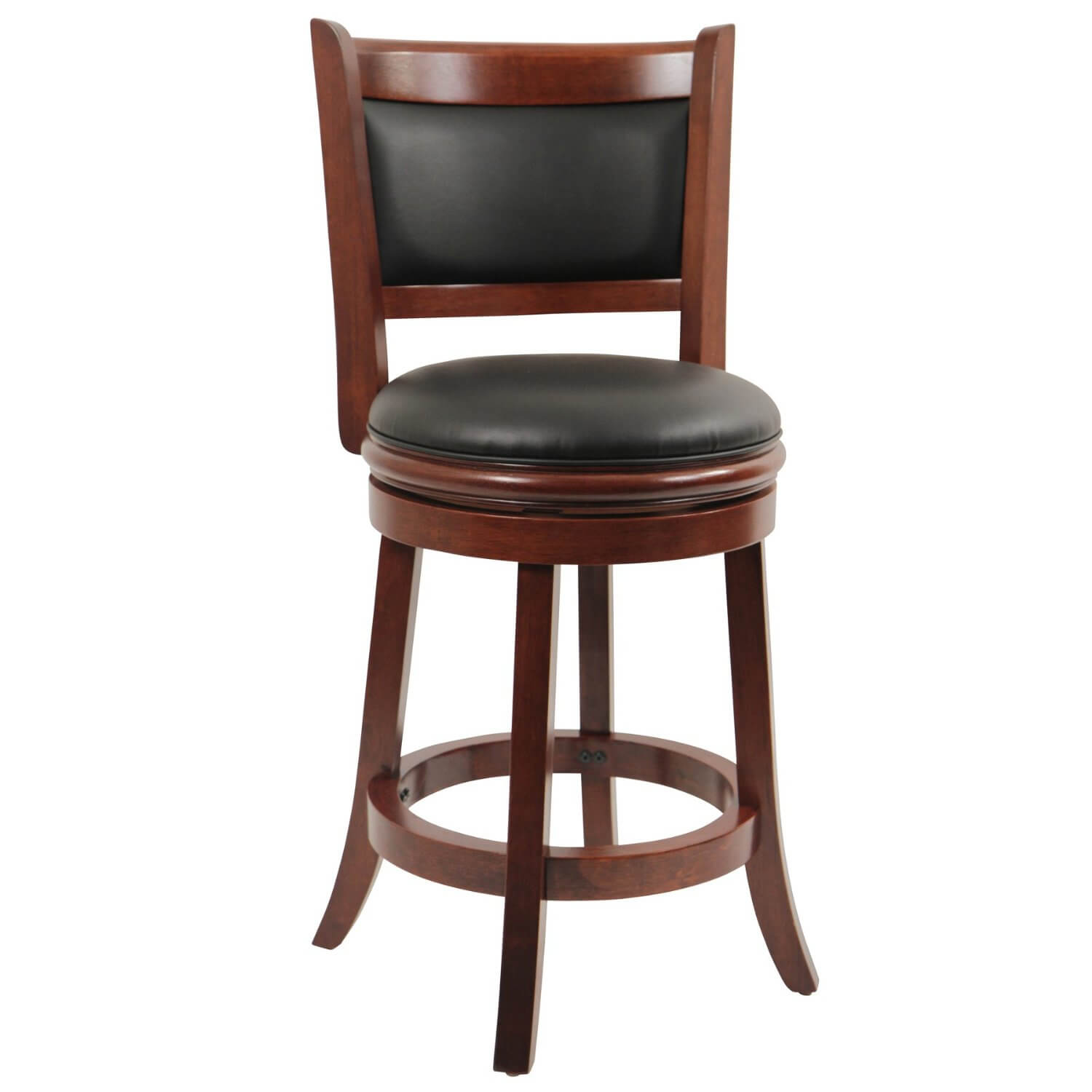 Cherry wood bar stool with upholstered back and seat.