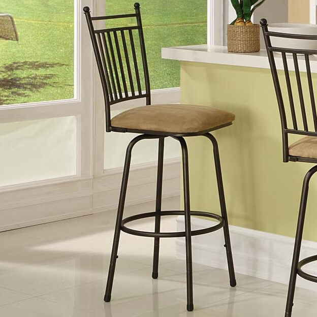 Kitchen Counter Stools With Microfiber Upholstered Seat.