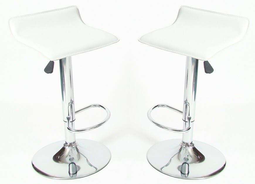 This is a low back modern stool design with a chrome base and white faux leather .  sc 1 st  Home Stratosphere & 35 Stylish Modern Adjustable White Leather Bar Stools islam-shia.org