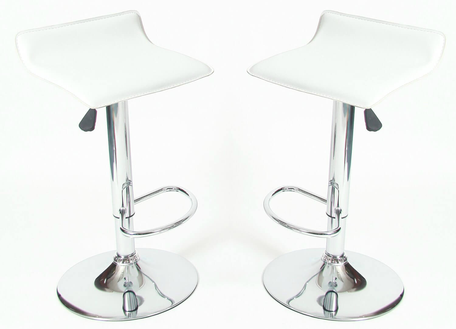 This is a low back modern stool design with a chrome base and white faux leather upholstered seat. The stool adjusts from 24 to 30 inches and also swivels.