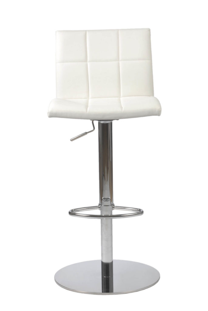 This Eurostyle White Leatherette Stool adjusts up and down as well as swivels. It offers an ample seat and back size.