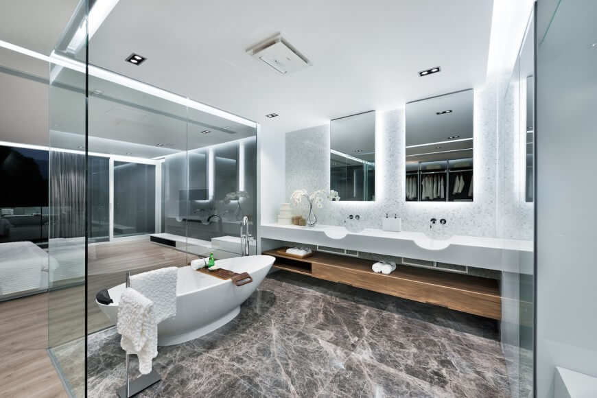 striking ultra modern master bath and bedroom suite separates the bath space with wraparound - Ultra Modern Bathroom Designs