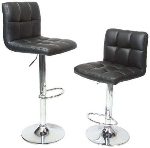 Pair of black seat and back stools with chrome finished pedestal base.