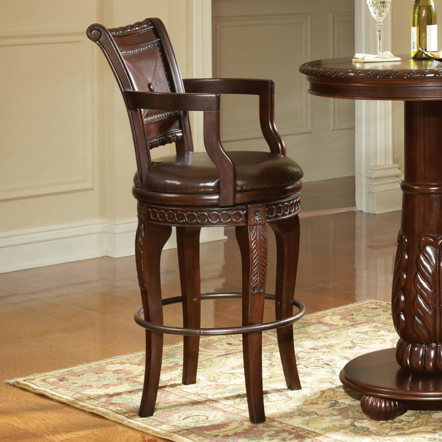 Elegant brown stool with rich brown leather seat and ornate solid wood back. & 52 Types of Counter u0026 Bar Stools (Buying Guide) islam-shia.org