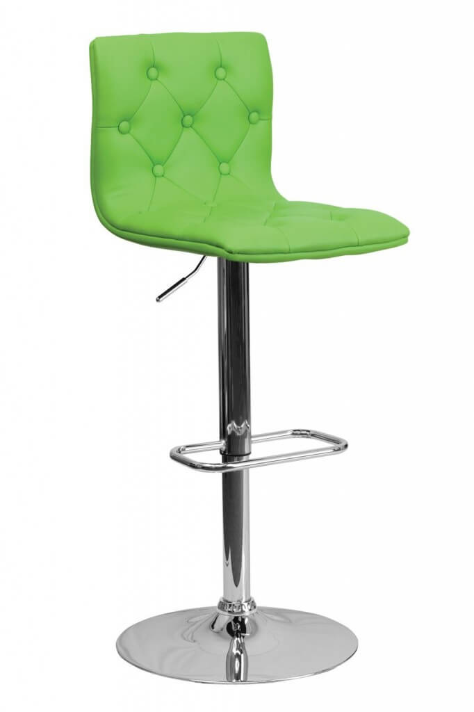 Modern green upholstered stool with chrome-finished pedestal base.