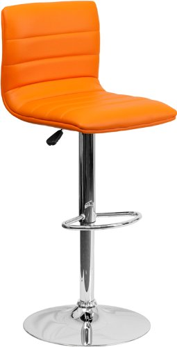 Modern orange upholstered adjustable height stool.