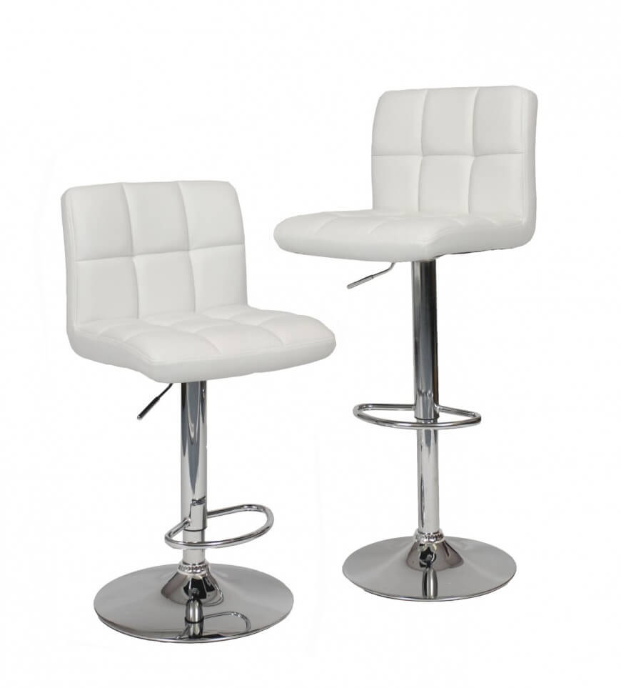 Genial Set Of Modern Chrome Frame Adjustable And Swivel Stools.