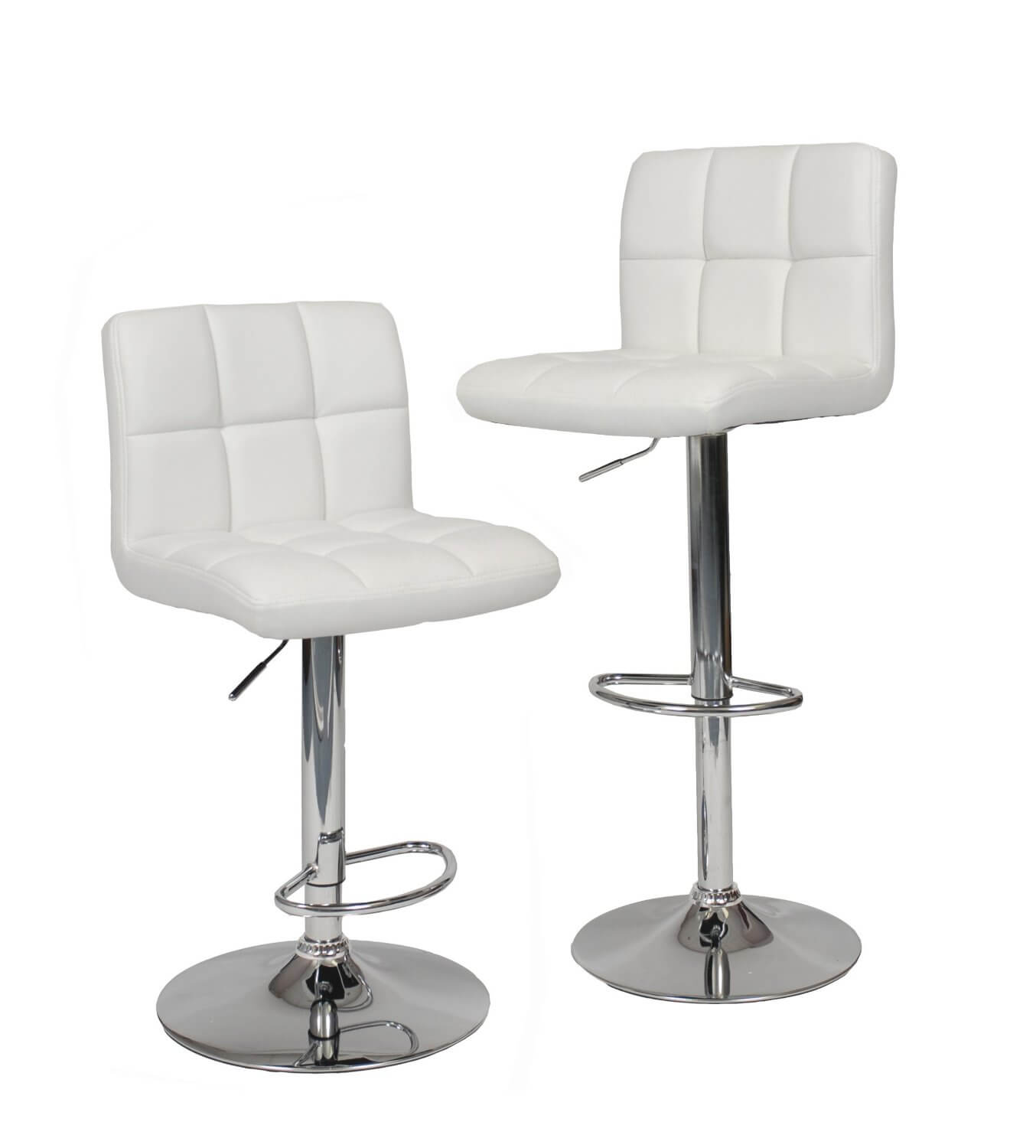 Set of modern chrome frame adjustable and swivel stools.