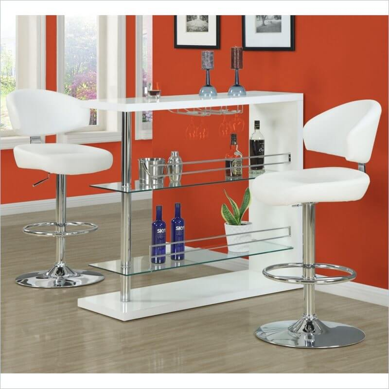 Monarch Low Back Chrome Pedestal Modern Stool