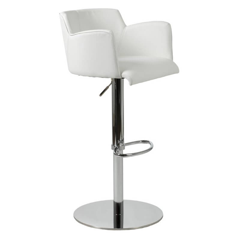 This Pocket Style White Modern Leather Bar Stool Offers Decent Seat Support  With Arms And .