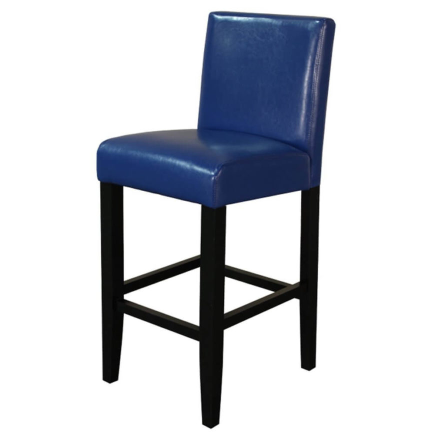 Blue upholstered 4-legged stool with blue back and seat.