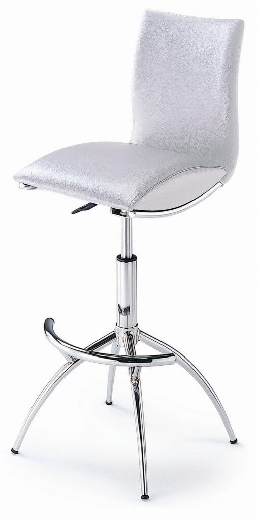 High-Back White Leather Modern Stool with Pedestal/Leg Combo Base  sc 1 st  Home Stratosphere & 35 Stylish Modern Adjustable White Leather Bar Stools islam-shia.org