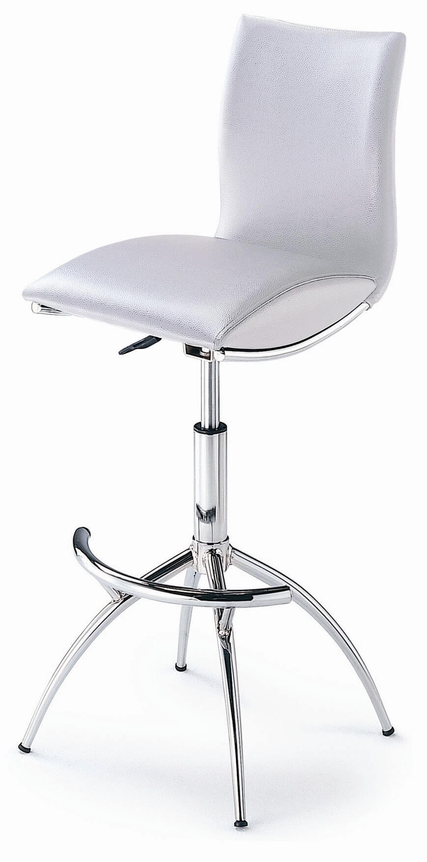 This modern stool is unique with its high back and pedestal/leg combo base design.  The 4 legs extending from the main support bar give it an elegance you don't see with the flat pedestal base style.  This stool both swivels and adjusts up and down.