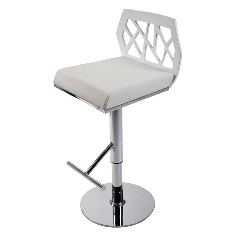 This stool is one of the few in this gallery which has a non-upholstered back with a cushioned leatherette seat.  A T-bar forms the foot rest which adjusts up and down along with the seat from 23 to 32 inches (a fairly large adjustment range).