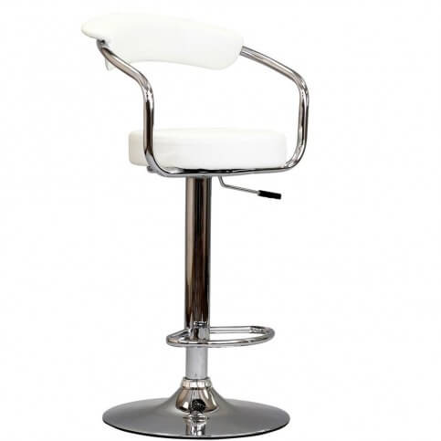 This stool includes a frame supporting the back which may enhance or detract comfort.  It's not particularly good for larger people, but other wise it offers more support than most stool designs.  It adjusts up and down and sits on a pedestal style base.