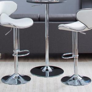 2 White Modern Adjustable Bar Stools.