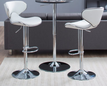 2 White Modern Adjustable Bar Stools.