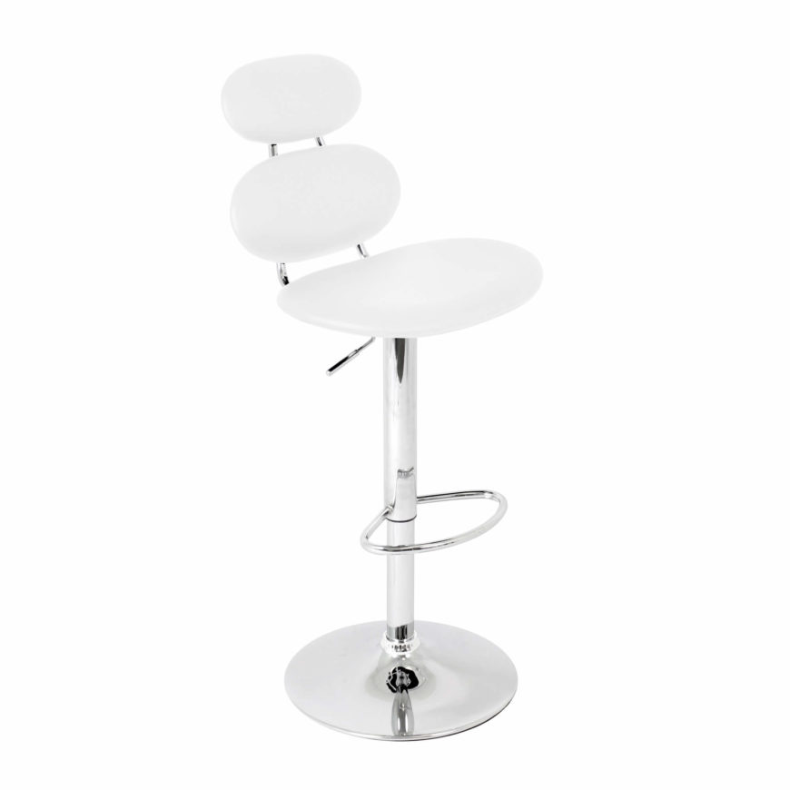 """I coined this white modern stool a """"marshmallow"""" design because of it's puffy appearance using a series of upholstered section reducing in size forming the seat and back.  The upholstered sections are white leatherette."""