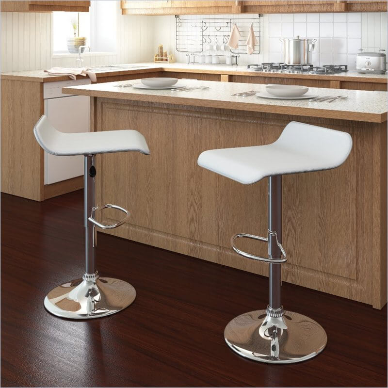 CorLiving Simple Adjustable White Kitchen Counter Stools