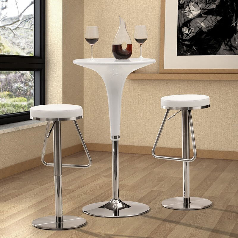 Zuo Round Backless Modern White u0026 Chrome Bar Stool & 35 Stylish Modern Adjustable White Leather Bar Stools islam-shia.org