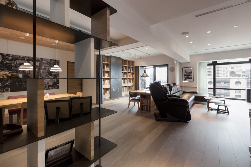 PartiDesign Creates Spacious Open-Concept Apartment Using Extensive Wood Throughout