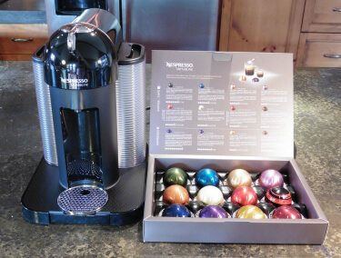 Nespresso Vertuoline coffee maker with variety pack of capsules