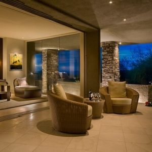 Patio and Bedroom of Desert Style Home by Angelica Henry Design
