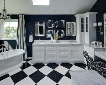 Striking blue and white master bathroom by Drury Design