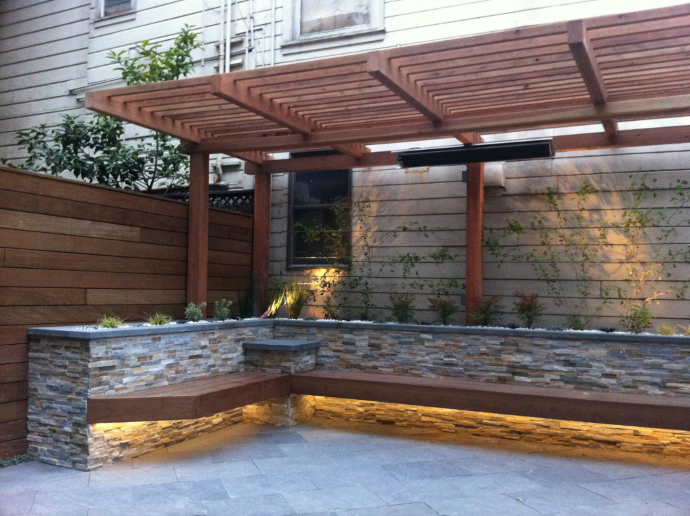 Patio with built-in DIY bench. - 15 New DIY Patio Furniture And Decoration Ideas