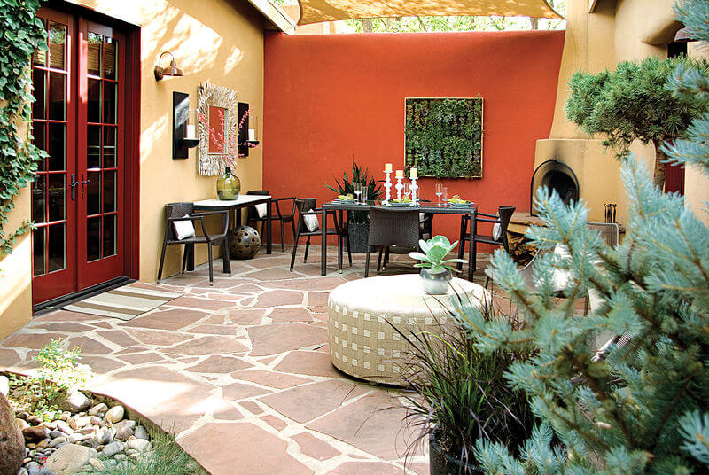 Mark Design Creates Southwest Style Courtyard on southwestern style kitchen, southwestern art wood working, southwestern style sofas,