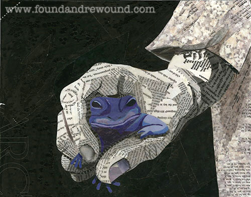 Paper collage by Jordan Kim of Found & Rewound features a black & white child holding a blue frog. Prints & cards make perfect gifts for lovers of frog décor.