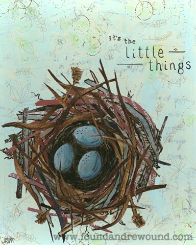 "Mixed media collage by Jordan Kim of Found & Rewound features a bird nest with blue eggs and the quote ""It's the Little Things"". Cool wall art for any room."