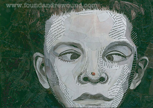Looking for children's art? This upcycled paper collage by Jordan Kim of Found & Rewound features a little boy staring cross-eyed at a ladybug on his nose.