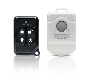 Keychain and panic pendant home security remote controls by Frontpoint Security