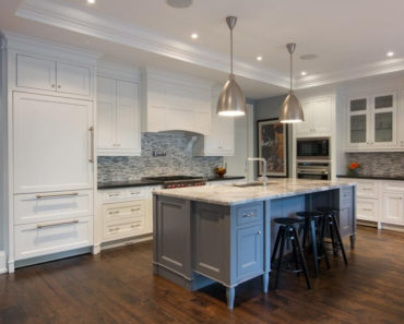 Luxury white and grey kitchen design by Steffanie Gareau
