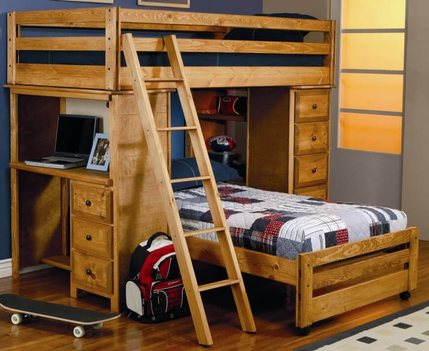 16 different types of bunk beds ultimate bunk buying guide rh homestratosphere com wood loft bed with desk underneath wood loft bed with desk and storage