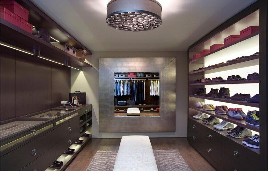 Spacious luxury walk-in-closet design by Lisa Adams Closet Design